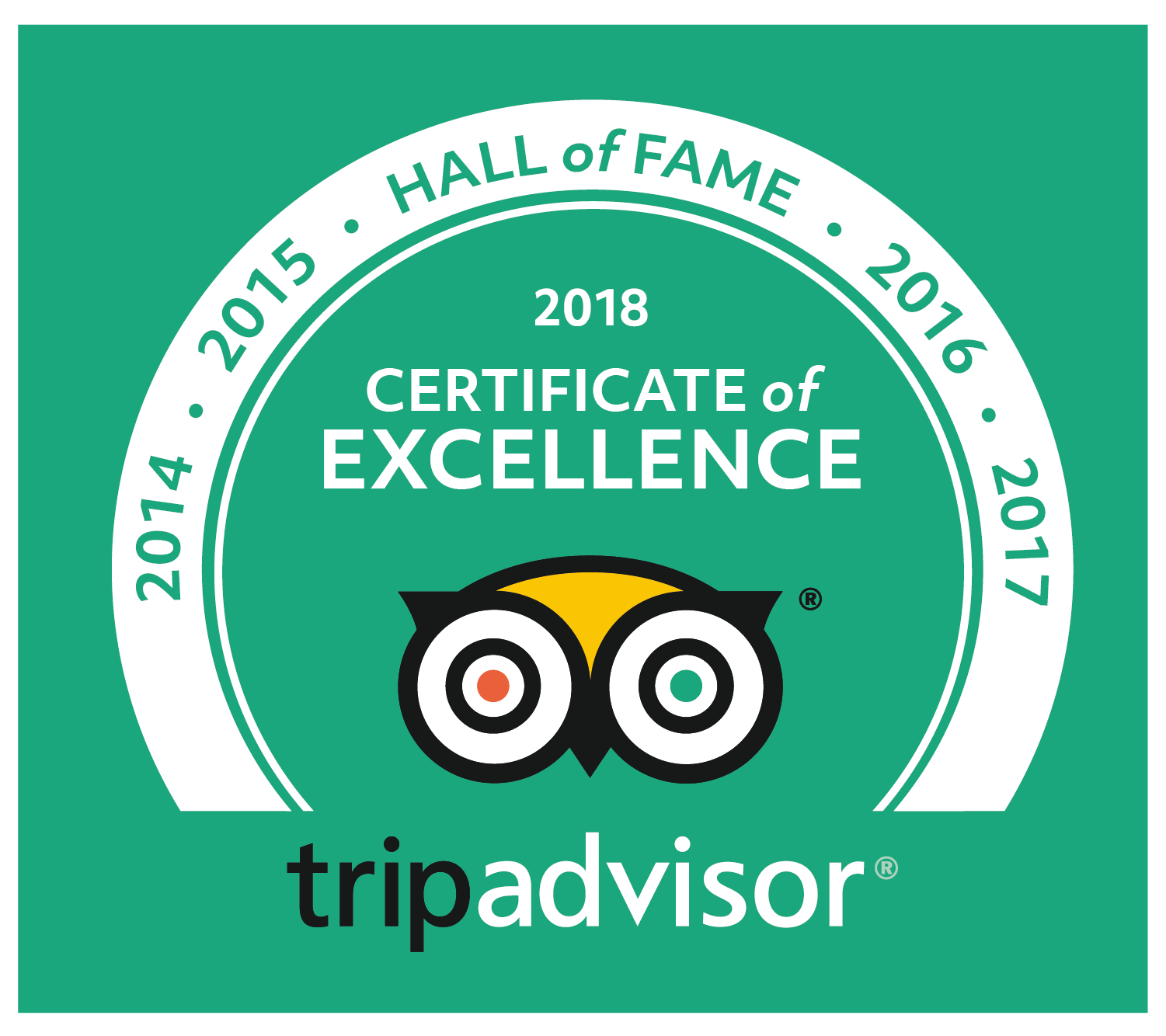 TripAdvisor 5 years of excellence